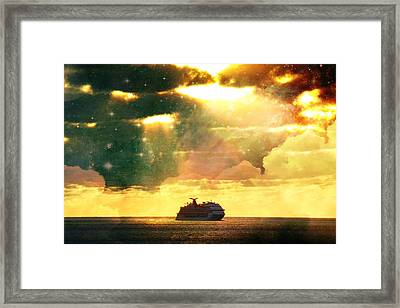 Caribbean Sunset Cloud Art Framed Print