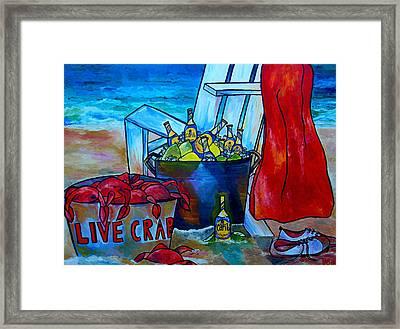 Caribe And Crab Framed Print by Patti Schermerhorn
