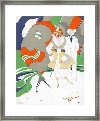 Caricature Of Flappers Wearing Furs Framed Print by Ralph Barton