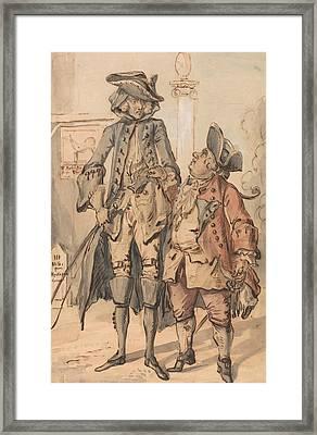 Caricature Of George Bubb Dodington And Sir Thomas Robinson Framed Print by Paul Sandby