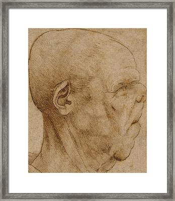 Caricature Of The Head Of An Old Man, In Profile To The Right Framed Print