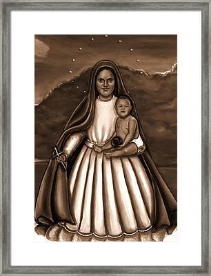 Caridad Del Cobre In Black And White Framed Print by Carmen Cordova
