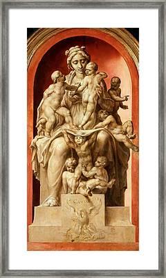 Caritas. Grisaille Framed Print by Maerten van Heemskerck