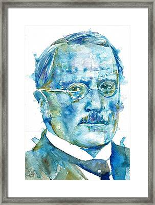 Carl Jung - Watercolor Portrait.6 Framed Print by Fabrizio Cassetta