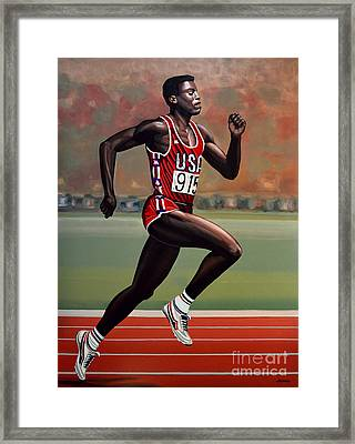 Carl Lewis Framed Print by Paul Meijering