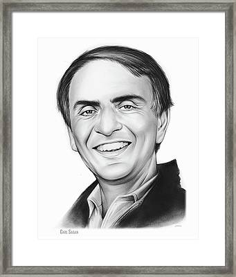 Carl Sagan Framed Print by Greg Joens