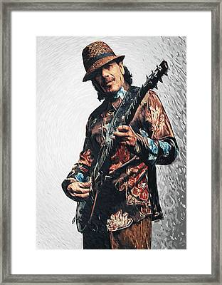 Carlos Santana Framed Print by Taylan Apukovska