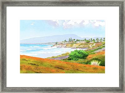Carlsbad Rt. 101 Sunny Day Framed Print by Mary Helmreich