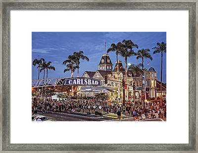 Carlsbad Village Sign Lighting Framed Print by Ann Patterson