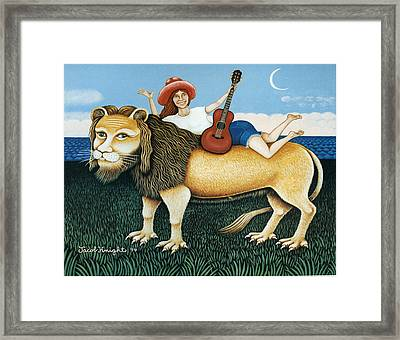 Carly Simon On Her Lion Framed Print by Jacob Knight