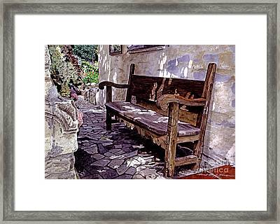 Carmel Mission Bench Framed Print