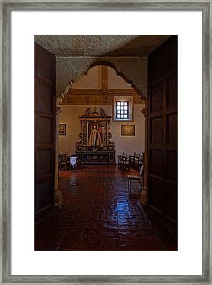 Carmel Mission Side Altar Framed Print by Thomas Hall
