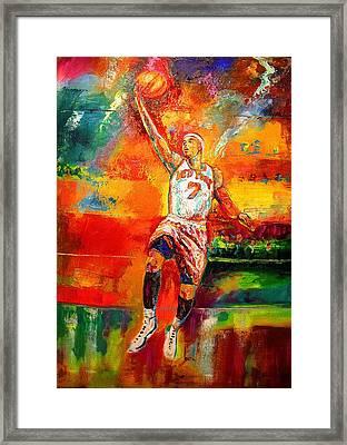 Carmelo Anthony New York Knicks Framed Print by Leland Castro