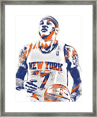 Carmelo Anthony New York Knicks Pixel Art 2 Framed Print