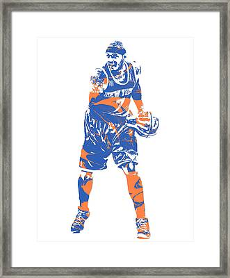 Carmelo Anthony New York Knicks Pixel Art 6 Framed Print