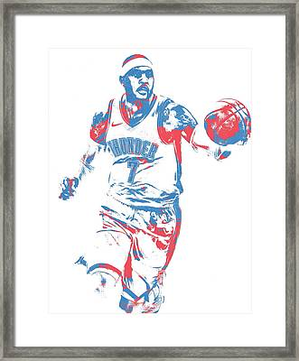 Carmelo Anthony Oklahoma City Thunder Pixel Art 3 Framed Print