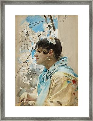 Carmen. Spanish Woman In Profile II Framed Print by Anders Zorn
