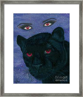 Framed Print featuring the painting Carmilla - Black Panther Vampire by Carrie Hawks
