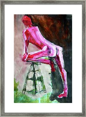 Framed Print featuring the painting Carmine Figure No. 3 by Nancy Merkle