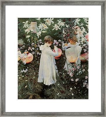 Carnation Lily Lily Rose Framed Print by John Singer Sargent