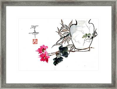 Carnations And Vase Framed Print by Linda Smith