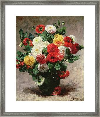 Carnations In A Vase Framed Print by Georges Jeannin