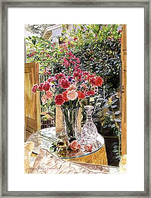 Carnations In The Window Framed Print by David Lloyd Glover