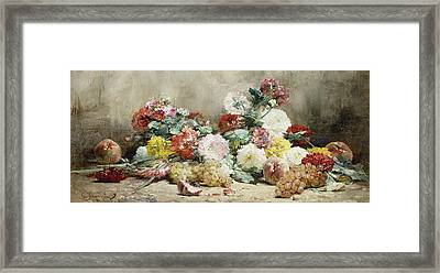 Carnations, Roses, Grapes And Peaches Framed Print by Georges Jeannin