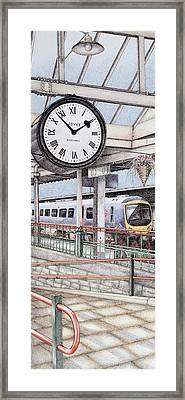 Carnforth Railway Station Clock Lancashire  Framed Print by Sandra Moore