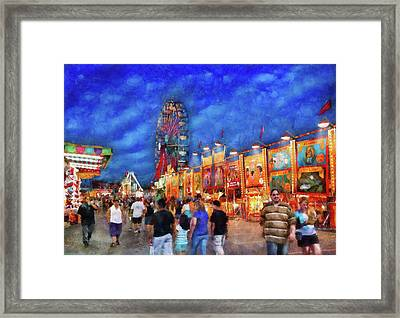 Carnival - The Carnival At Night Framed Print by Mike Savad