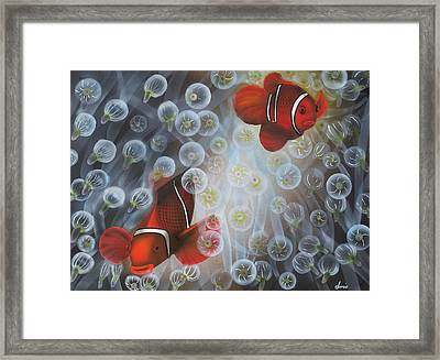 Carnival Clowns Framed Print by Doris Hodgson
