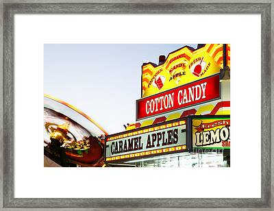 Carnival Concession Stand Sign And Ride Framed Print by Paul Velgos
