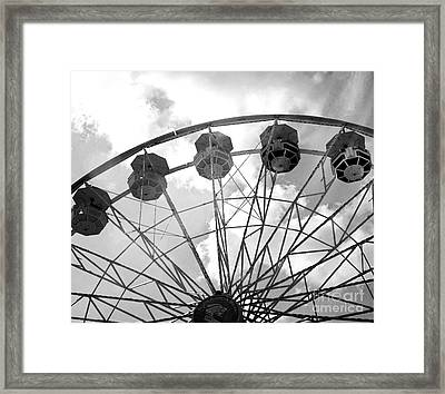 Framed Print featuring the photograph Carnival Ferris Wheel Black And White Print - Carnival Rides Ferris Wheel Black And White Art Prints by Kathy Fornal