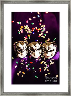 Carnival Mask Jewelry On Purple Background Framed Print by Jorgo Photography - Wall Art Gallery