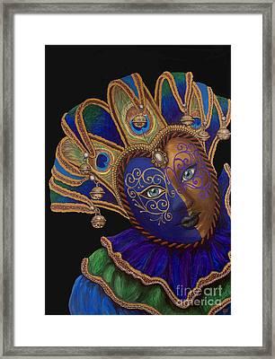 Carnival Peacock Jester Framed Print by Patty Vicknair