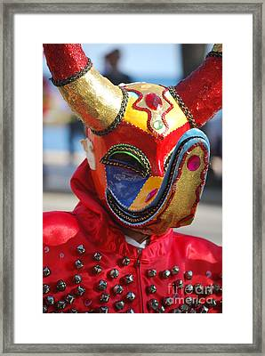 Carnival Red Duck Portrait Framed Print
