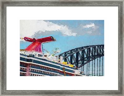 Carnival Spirit And Harbour Bridge Framed Print by Avalon Fine Art Photography