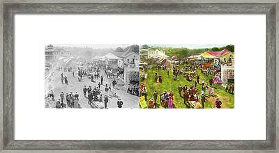 Carnival - Summer At The Carnival 1900 - Side By Side Framed Print by Mike Savad