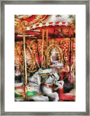 Carnival - The Carousel - Painted Framed Print by Mike Savad