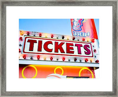 Carnival Tickets Sign Framed Print by Paul Velgos