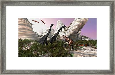 Carnotaurus Attack Framed Print by Corey Ford