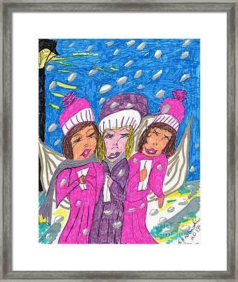 Angel Carolers On A Snowy Night Framed Print by Elinor Rakowski