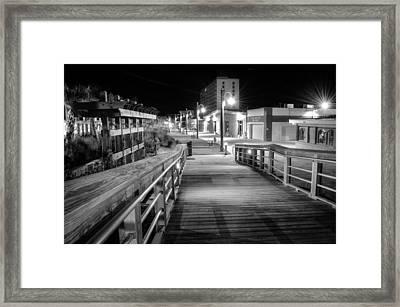 Carolina Beach Boardwalk Ramp In Black And White Framed Print