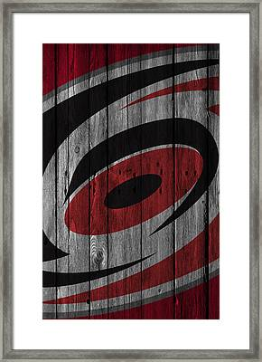 Carolina Hurricanes Wood Fence Framed Print