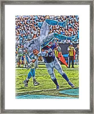 Carolina Panthers Cam Newton Oil Art Framed Print by Joe Hamilton