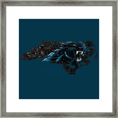 Carolina Panthers Typographic Map 4a Framed Print
