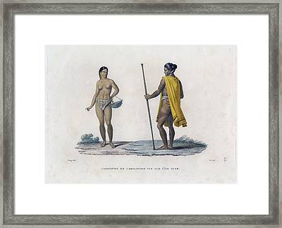 Framed Print featuring the drawing Carolinois Et Carolinoise Vue Sur Lile Guam by Jacques Arago
