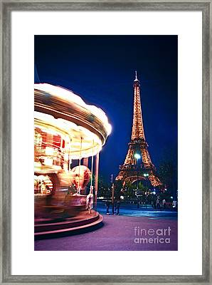 Carousel And Eiffel Tower Framed Print by Elena Elisseeva