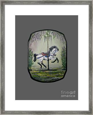 Carousel Garden The White Buckskin Stallion Framed Print