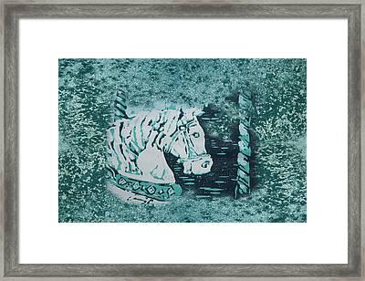 Carousel Horse Aquamarine Framed Print